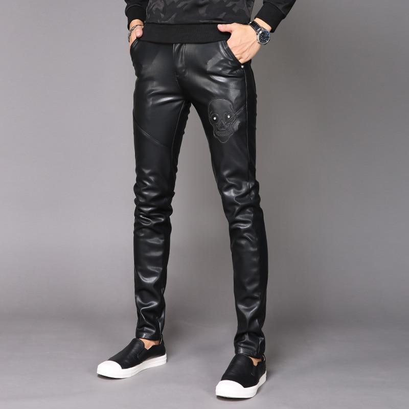 Men's PU Leather Pants Nightclub New Men's Plus Velvet Feet Motorcycle Men's Leather Pants Men Clothing 2020 Streetwear Hip Hop