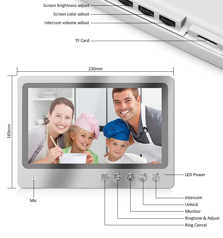 9 Inch TFT Display Wifi Apartments Video Door phone Intercom System with 3 Color Moniter Smartphone App Remote Contol Unlock enlarge