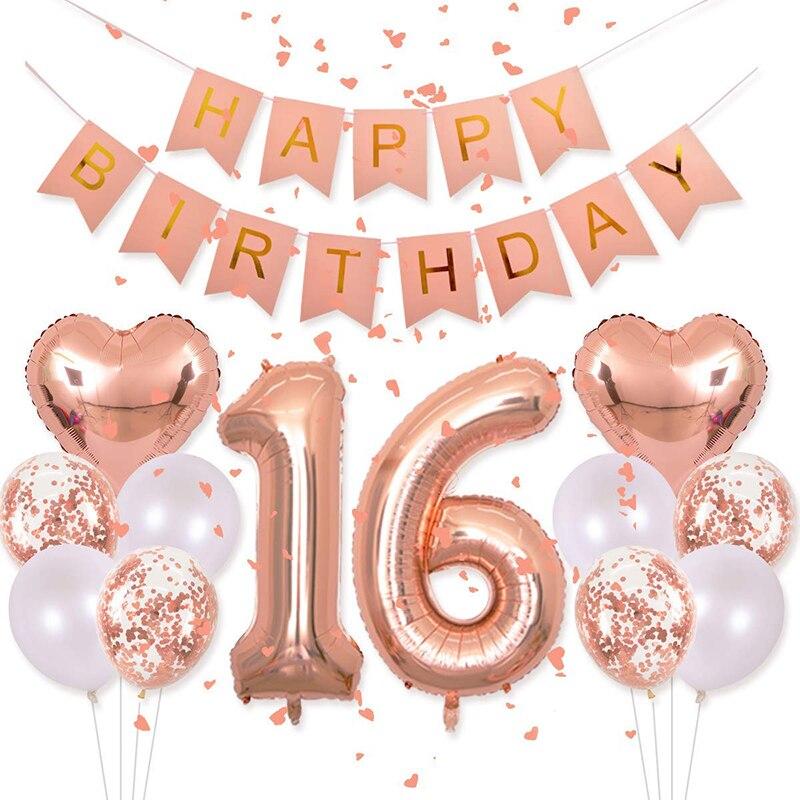 Rosa dorados fiesta decoraciones Kit 18th Set de globos de cumpleaños cartel de feliz cumpleaños confeti globos de látex mujer fiesta Decoración