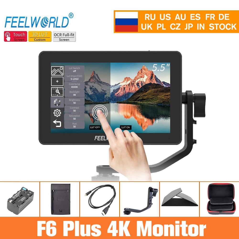 Feelworld Monitor CÁMARA DE F6 Plus 5,5 pulgadas 3D Lut pantalla táctil 4K HDMI IPS FHD 1920X1080 Monitor para cámara DSLR