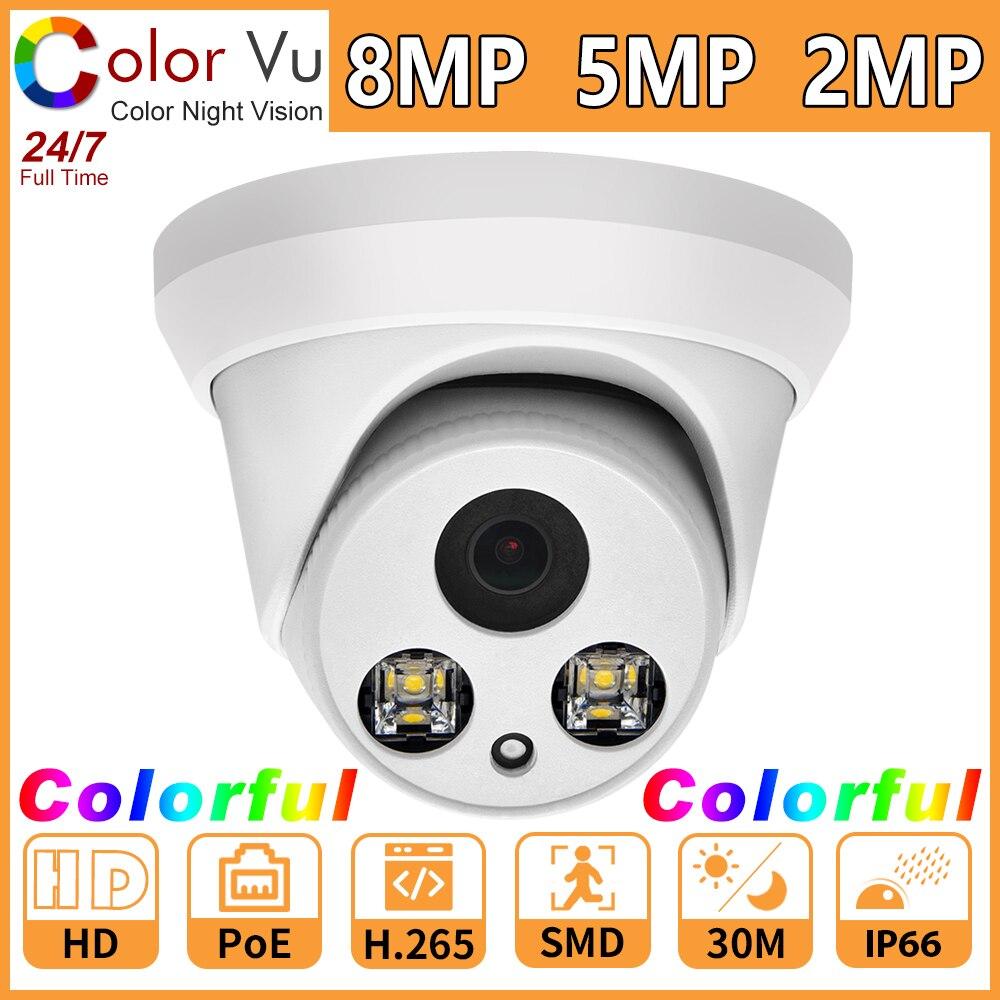 Cámara IP a todo Color Compatible con Hikvision, cámara de red colorida de 8MP 5MP 2MP, cámara de seguridad CCTV PoE HD 1080P ONVIF H.265 P2P