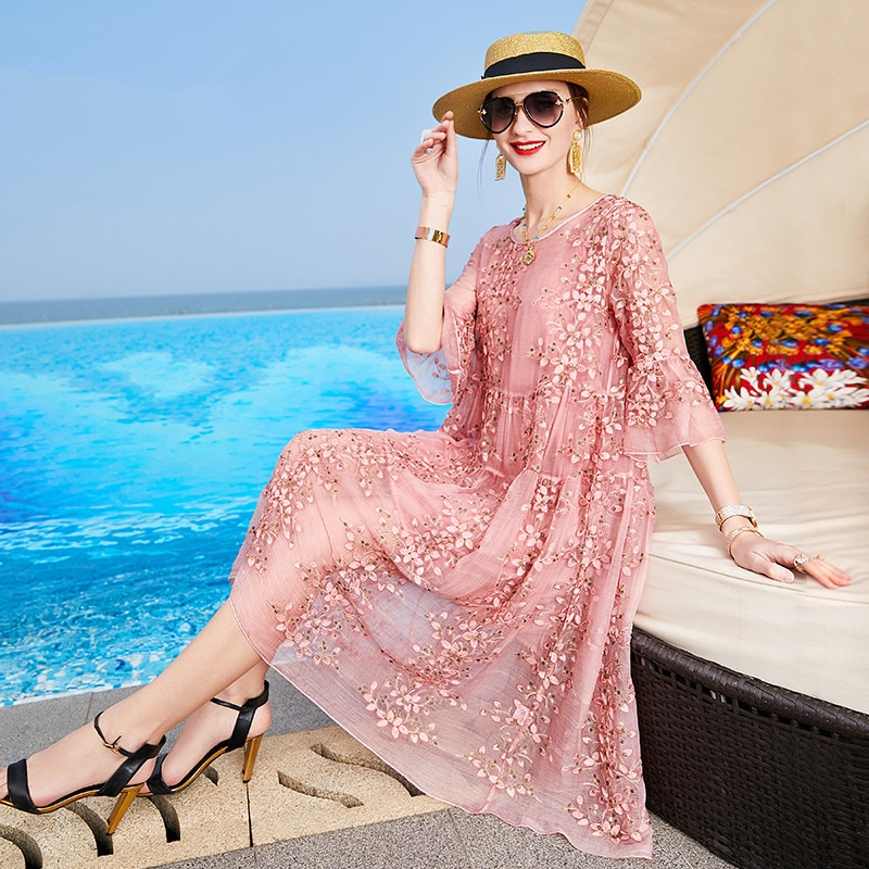 ZUOMAN New Spring Plus Size 4xl Dress Summer Female Silk Dress Female Embroidery Long Vestidos Robes
