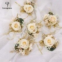 Boutonniere de rosas de seda para boda, ramillete de perlas de encaje, pulsera de damas de honor, novio, Boutonniere, flores, accesorios de matrimonio
