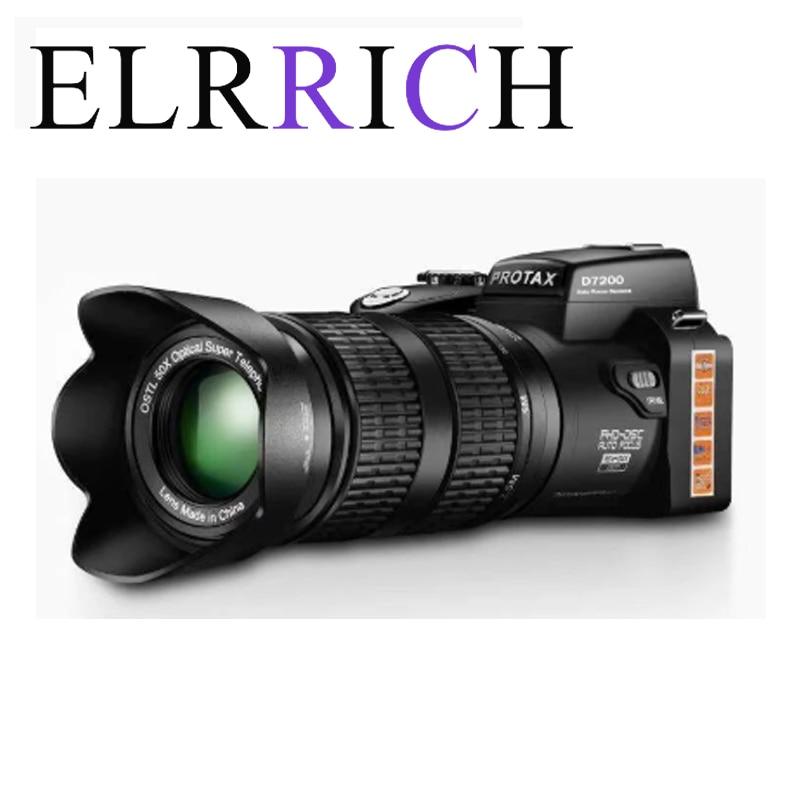 ELRRICH كاميرا رقمية HD D7200 PROTAX 33 مليون بكسل التركيز التلقائي المهنية SLR كاميرا فيديو 24X زووم بصري ثلاثة عدسات