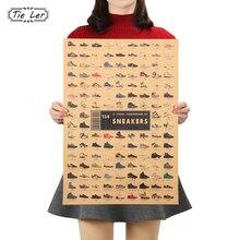 TIE LER moda trampki plakat z papieru pakowego Retro dekoracje ścienne naklejki salon dekoracja pokoju plakat 51.5x36cm