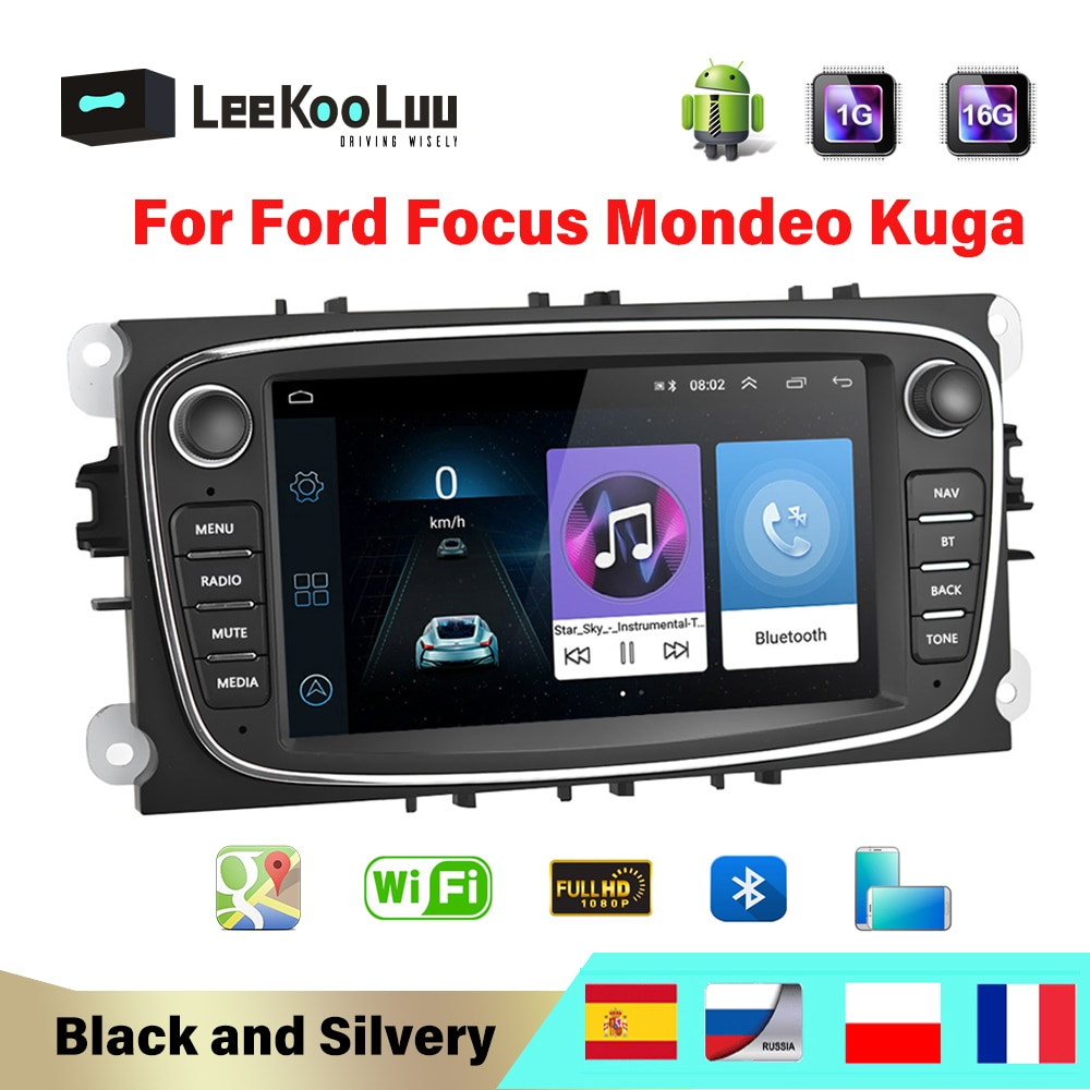 LeeKooLuu 2 Din Car Radio enlace espejo Android Autoradio para Ford Focus 2 S-MAX Mondeo mk4 C-MAX Galaxy WIFI GPS coche Multimedia