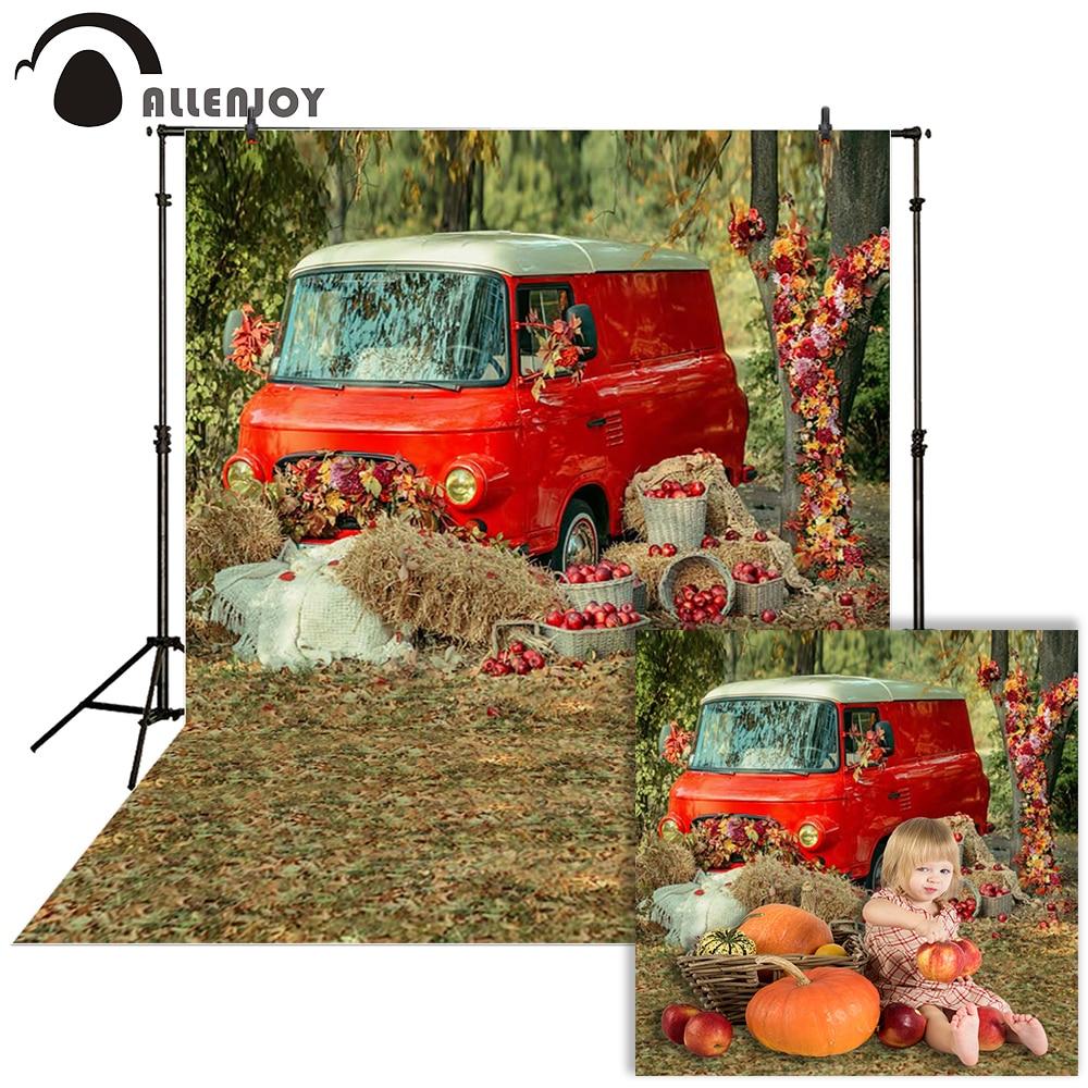 Allenjoy fotografía otoño telón de fondo coche hierba rojo campo baby shower niños Fondo foto de estudio photophone