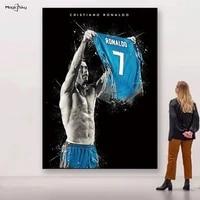 Affiche murale de Cristiano Ronaldo  peinture sur toile CR7  maillot de Football  Superstar  photos dart imprimees  decoration de maison  salon  chambre a coucher