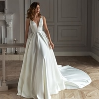 Simple Satin V Neck Minimalist Wedding Dress 2021 Backless Elegant Off White Sash Beading Bridal Gown Plus Size Vestido De Noiva