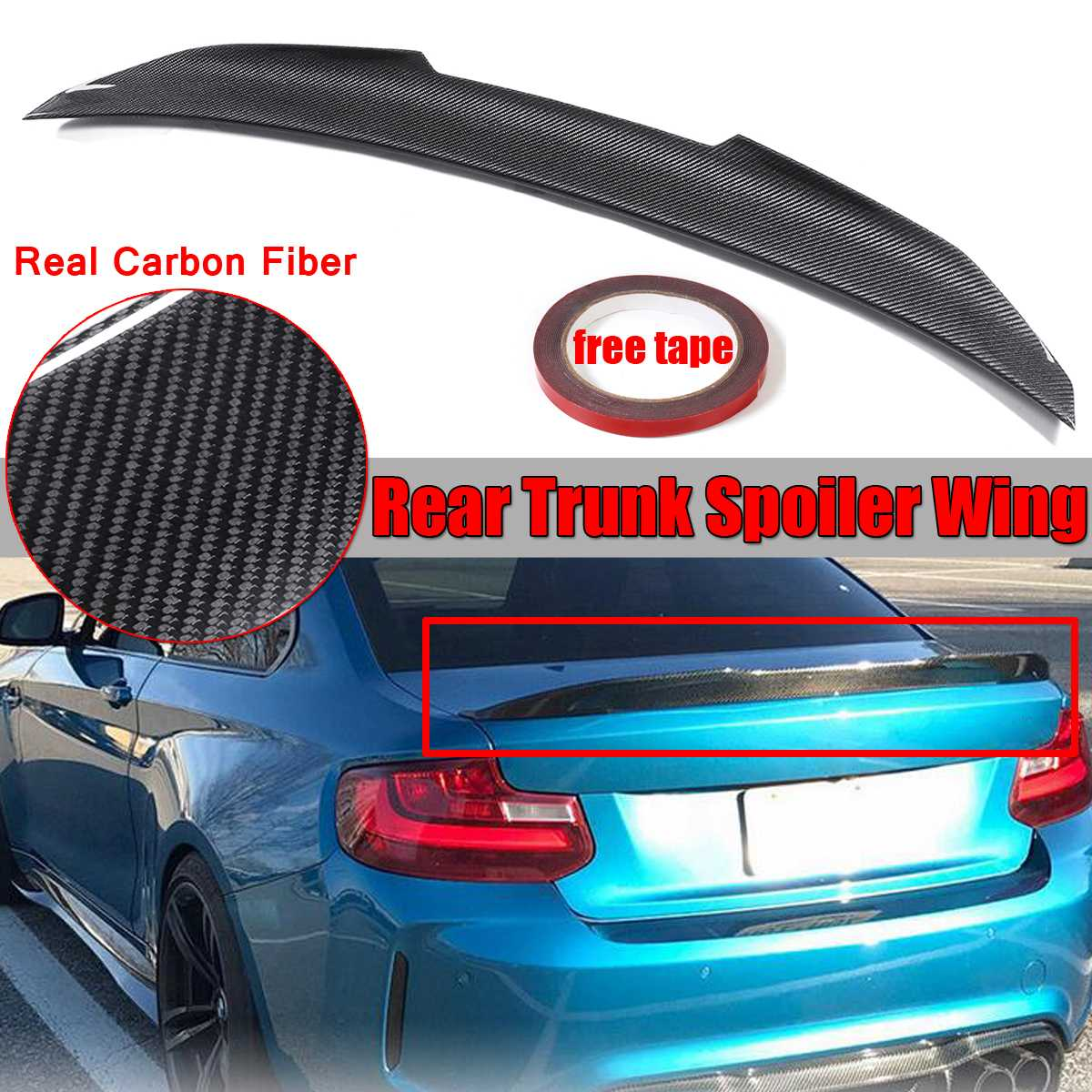 1x de fibra de carbono Real PSM estilo coche alerón trasero para maletero Spoiler ala tapa para BMW F22 M235i F87 M2 2014, 2015, 2016, 2017, 2018