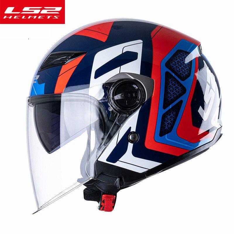 Новое поступление, LS2 OF569 Ретро мотоциклетный шлем rcycel, винтажный шлем для мужчин и женщин, скутер, двойные линзы