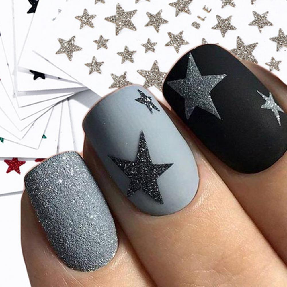 3D Nail Slider Stars Stickers Nail Art Sticker Slider Manicure Nail Art Watermark Glitter Shiny Fingernail Decoration for Women