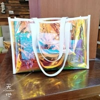 cute transparent bag for women laser clear handbag holographic pvc candy beach waterproof shoulder bag jelly