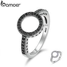 Женские серебряные кольца на пальцы BAMOER, круглые кольца на пальцы из 100% натуральной 925 пробы, 2 цвета, Forever Clear, SCR112