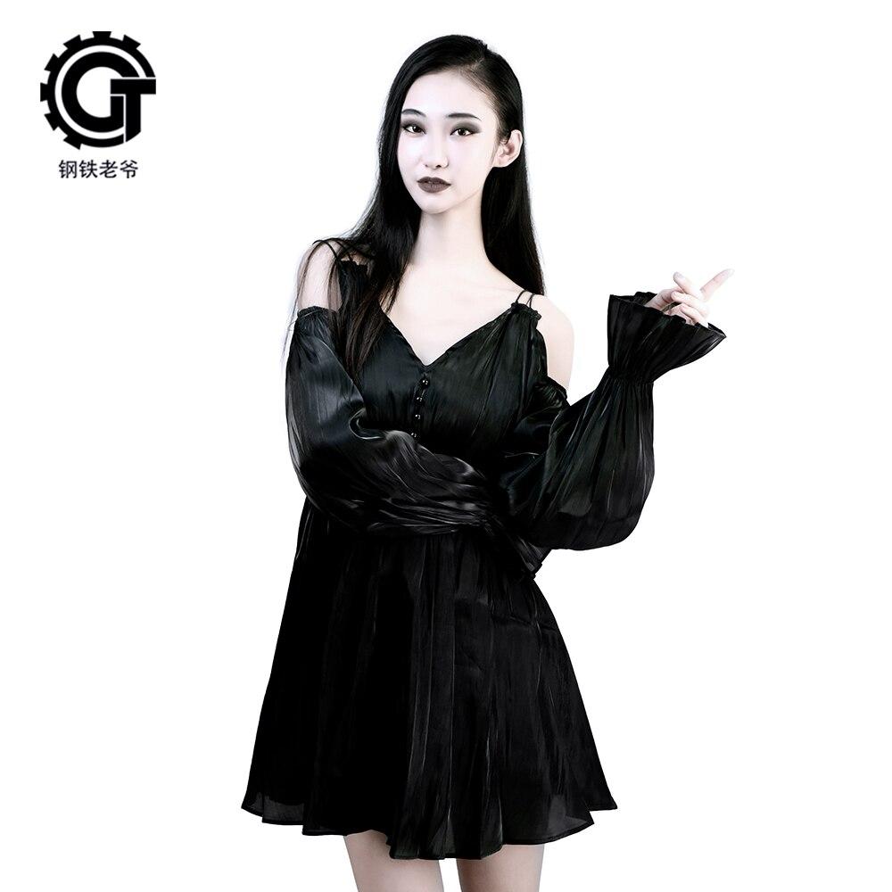 Dark Cold Wind Strap Small Black Dress Lantern Sleeve Dress Was Thin And Sexy Temperament Court Wind Strap Dress