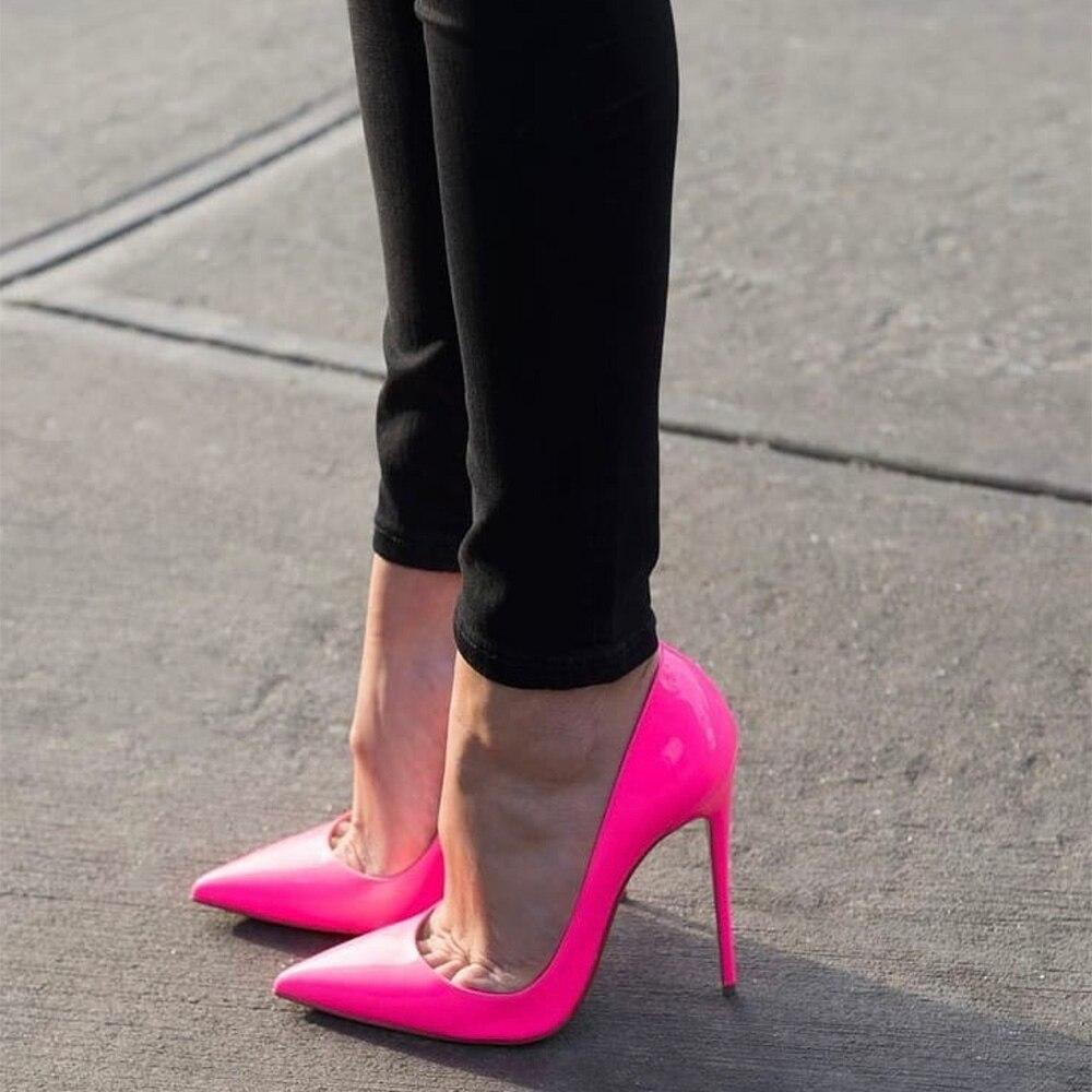 Doris Fanny duże rozmiary 34-45 lakierki seksowne szpilki damskie buty różowe wysokie czółenka 12cm