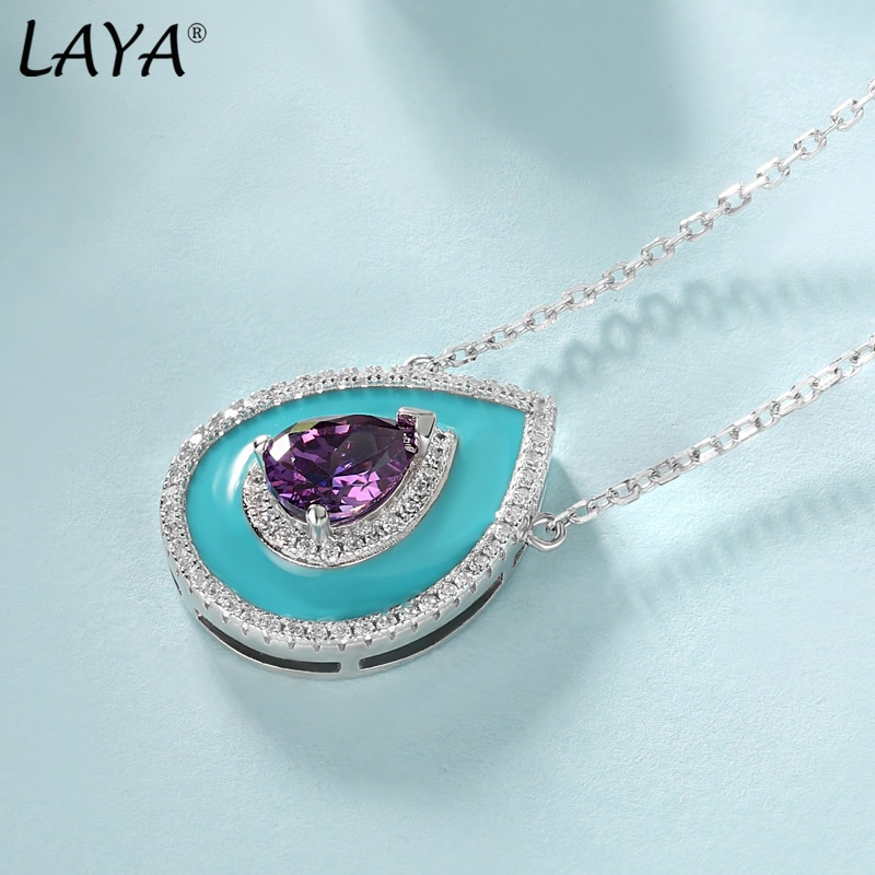 Laya Silver Necklace Earrings Sets For Women 925 Sterling Silver High Quality Zircon Natural Blue Purple Fushion Stone Jewelry