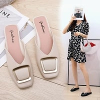 flat bottomed non slip slippers womens outer wear new autumn half tow plastic sandals and slippers womens shoes