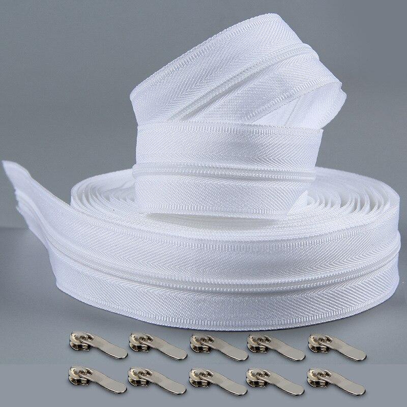 Colcha blanca #3 con cremallera de 10 metros, cremalleras para costura de bobina de nailon, venta al por mayor de cremalleras dobles, artesanía de costura de extremo cerrado