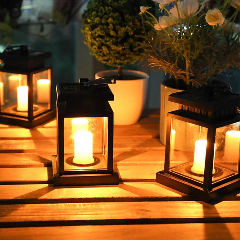 LED Solar Candle Lamp Outdoor Hanging Lighting Yard Decor Patio Solar Powered Lantern Warm Flame Flashing Garden Table Tea Light