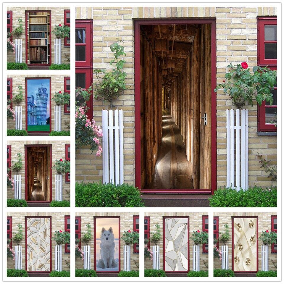 Papel tapiz de puerta de pasillo de madera, pegatinas autoadhesivas de vinilo DIY en las puertas, cartel removible, pegatinas de pared, pegatina decorativa para el hogar