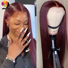 פרואני ישר שיער 13X1 תחרה מול פאת שיער טבעי פאות 99J אדום בורגונדי מראש-קטף 180% רמי שיער טבעי עמוק חלק פאות