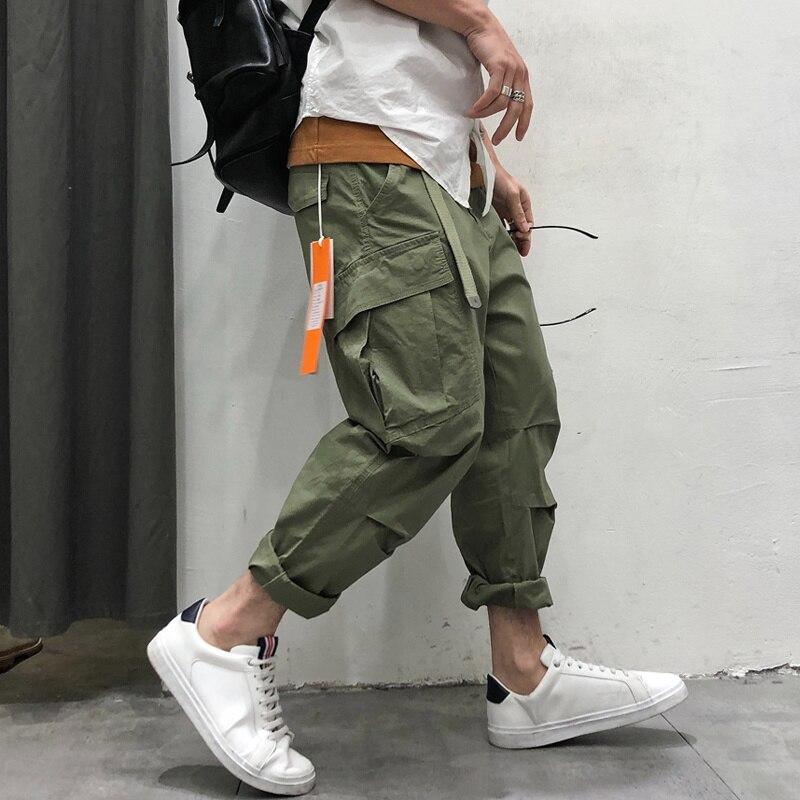 Штаны-карго HOUZHOU мужские, стиль хип-хоп, ранние брюки в стиле хиппи, мужские черные брюки-карго, одежда для бега оверсайз, тренировочные штаны
