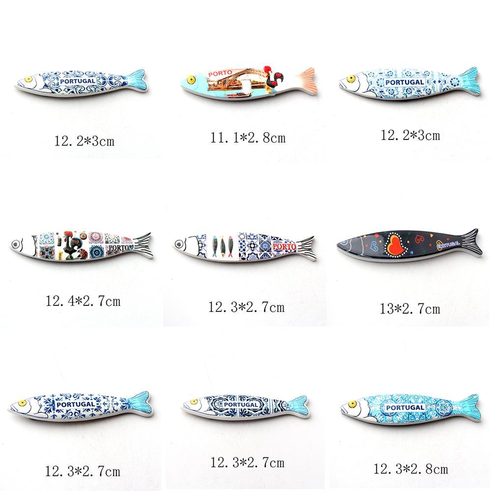 3d resina geladeira ímã criativo porto portugal sardinha magnética geladeira ímã mensagem adesivo decoração para casa ímãs