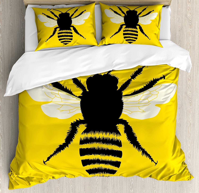 Juego de edredón de abeja reina con silueta de abeja con diseño pelado y alas detalladas abstracto decorativo juego de cama de 3 piezas