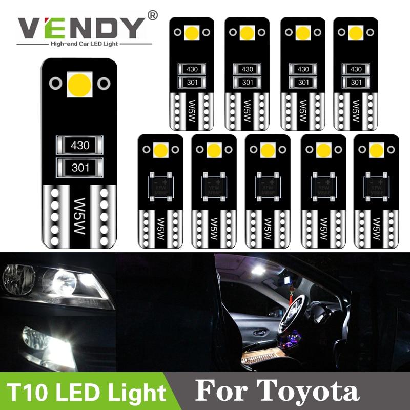 10pcs W5W Car LED Light T10 Lamp Bulb For Toyota Corolla Camry 40 Prius RAV4 Tundra auris yaris hilux avensis t25 chr wish verso
