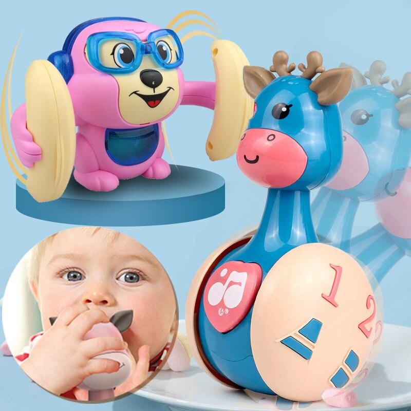 Забавные игрушки-тумблеры с оленями для детей 1 год освещение музыка ребенок интерактивное ползание игрушки для упражнений для детей Малыш...