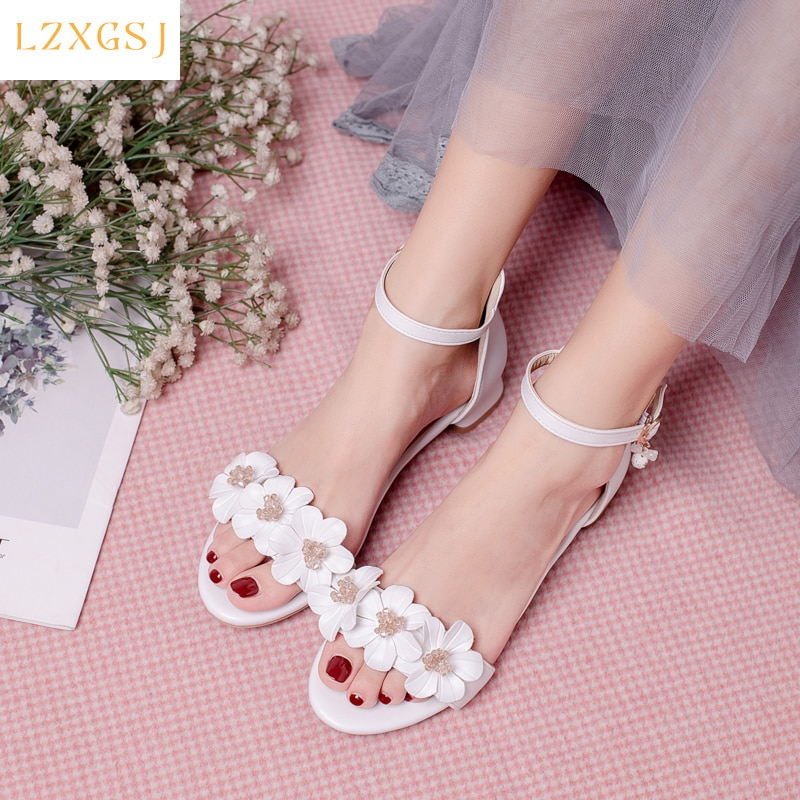 New Arrivals Summer Sandals Women 2021 Thick Heels Buckle Strap Flower Sandals Female Fashion Casual Women's Spring Shoes