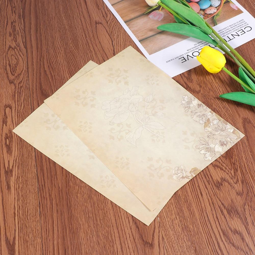 50pcs European Style Paper Retro Writing Paper Vintage Letter Paper Romantic Stationery (Light Coffee Jasmine)