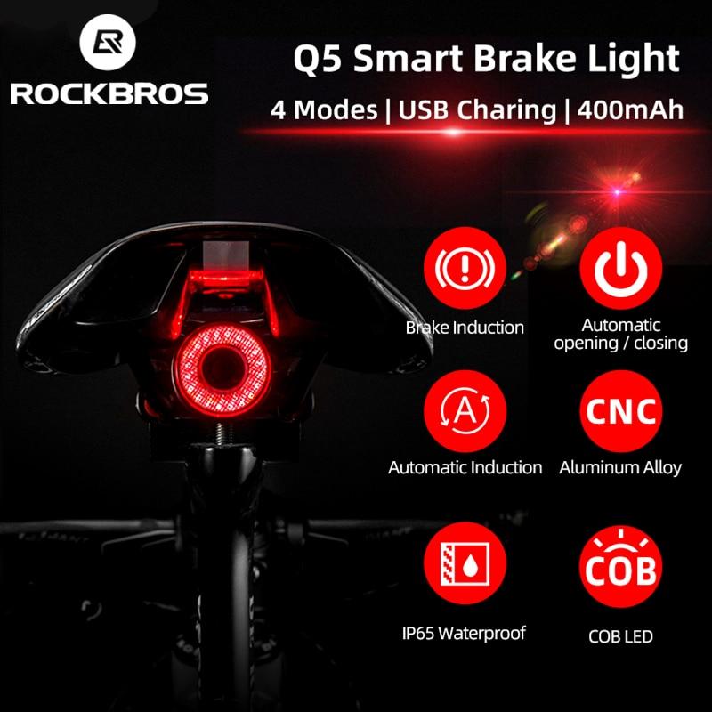 ROCKBROS los Q5 bicicleta luz trasera bicicleta inteligente para automóbil de freno...