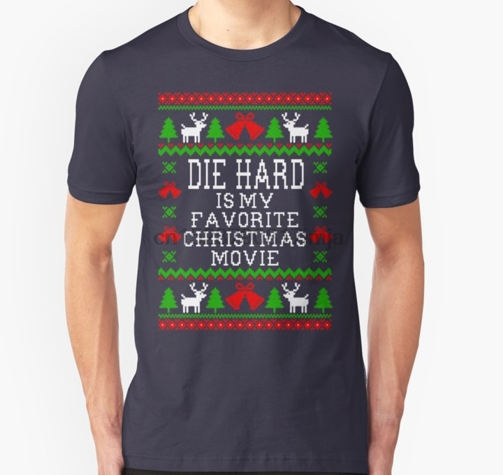 Camiseta de hombre Die Hard es mi película de Navidad favorita suéter de Navidad fea estilo Unisex camiseta de las mujeres camiseta camisetas top
