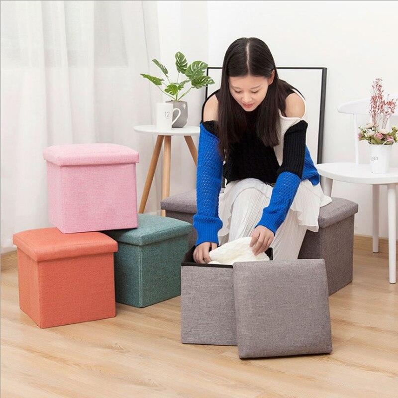 بسيط النسيج تخزين البراز للطي مقعد الحذاء مسند القدم يمكن الجلوس مع صندوق بغطاء 30*30*30 سنتيمتر/40*25*25 سنتيمتر 100 كجم