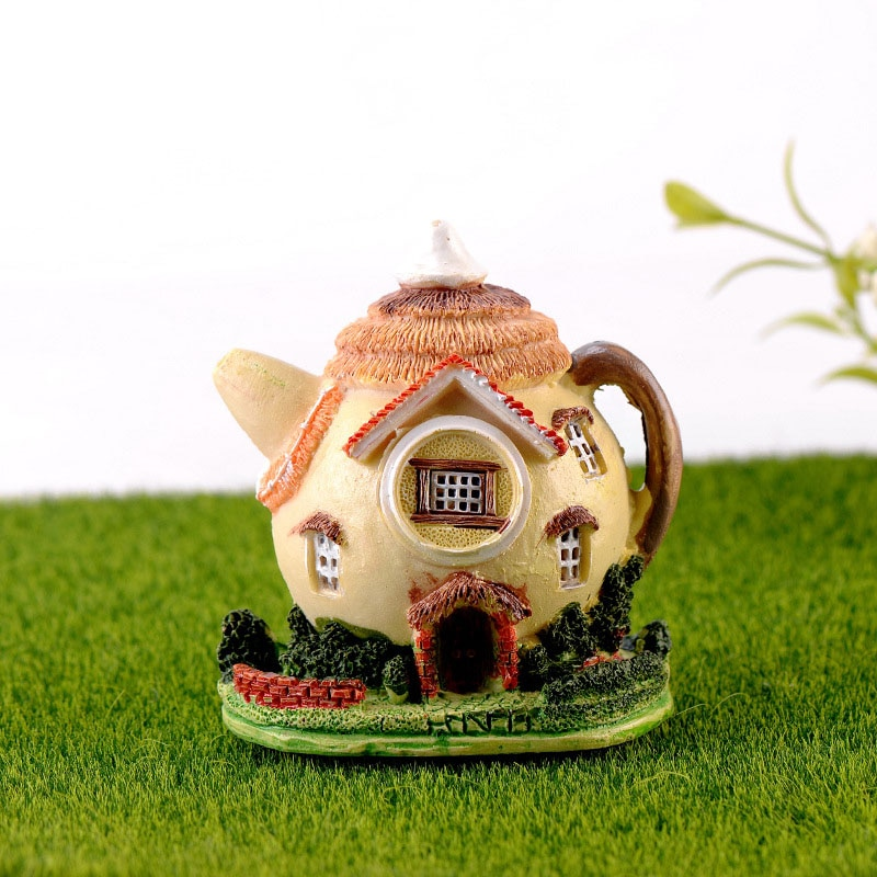 Casa de tetera, miniatura de jardín de hadas, Miniaturas Micro musgo para paisaje, Diy, accesorios para terrario, figuras para decoración del hogar