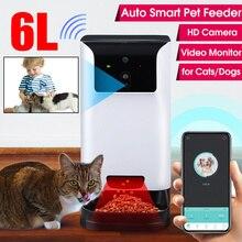 Alimentador automático 6L Smart Dog con cámara de Video Alimentador automático para Gatos Perros tazón dispensador de alimentos para mascotas
