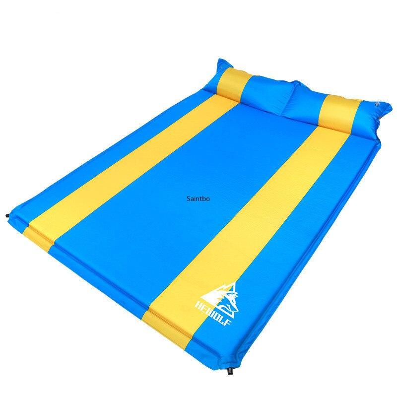 Esterilla inflable automática doble para exteriores, estera a prueba de humedad, ensanchadora, gruesa, para acampar, cojín de tienda, estera para sentarse, estera para dormir