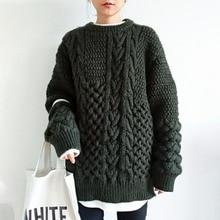 Elegant Winter Women's Sweater Twist Casual Pullover Knitted Sweater Female Tops Tricot Jersey Jumper Korean Oversized Knitwear