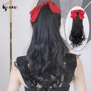 DIANQI синтетический цельный красный бант с короткими грушевыми вьющимися волосами удлинители для конского хвоста с зажимом для конского хвоста для женщин парики