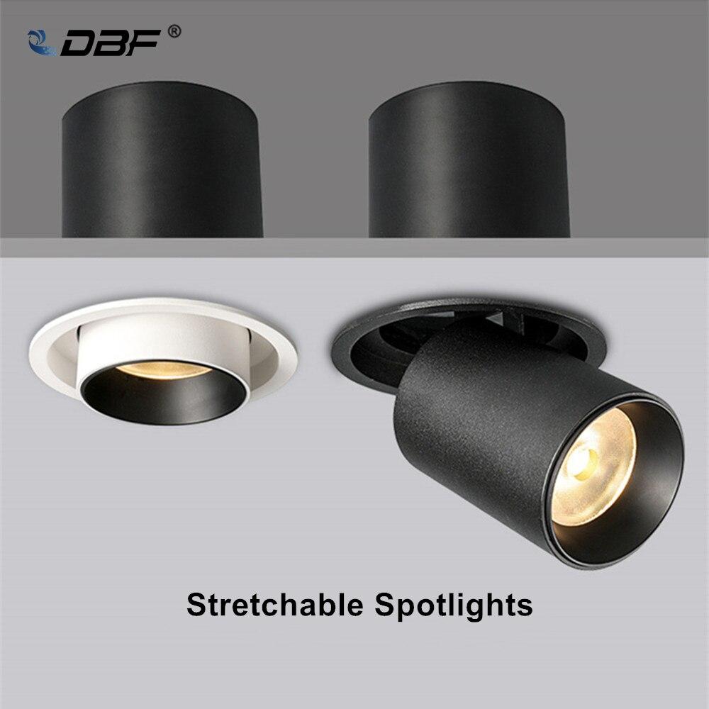 DBF-luz descendente de techo elástica, 7W, 10W, 12W, negro/blanco, rotación de 360...