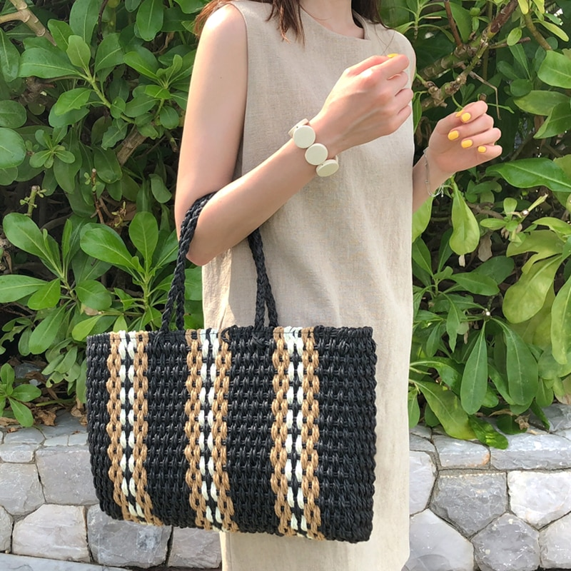 2021 New Arrivals Large Capacity Women Woven Straw Handbags Summer Beach   Bag Casual Colorful Paper Rope Straw Bag