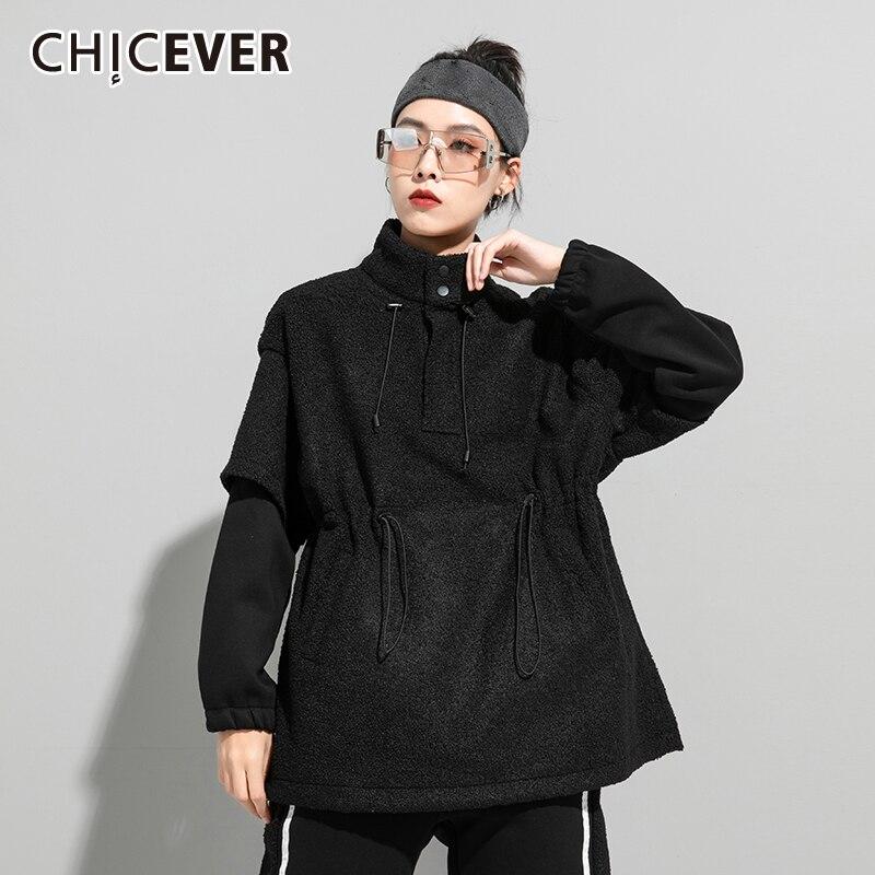 CHICEVER بلوزة سوداء غير رسمية للنساء الوقوف طوق كم طويل المرقعة وهمية قطعتين الصلبة بلوزات الإناث الملابس