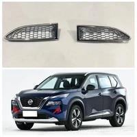2 pcs front fog light lamp trim covers for nissan rogue 2021 2022 chrome front headlight decor cover trim accessories
