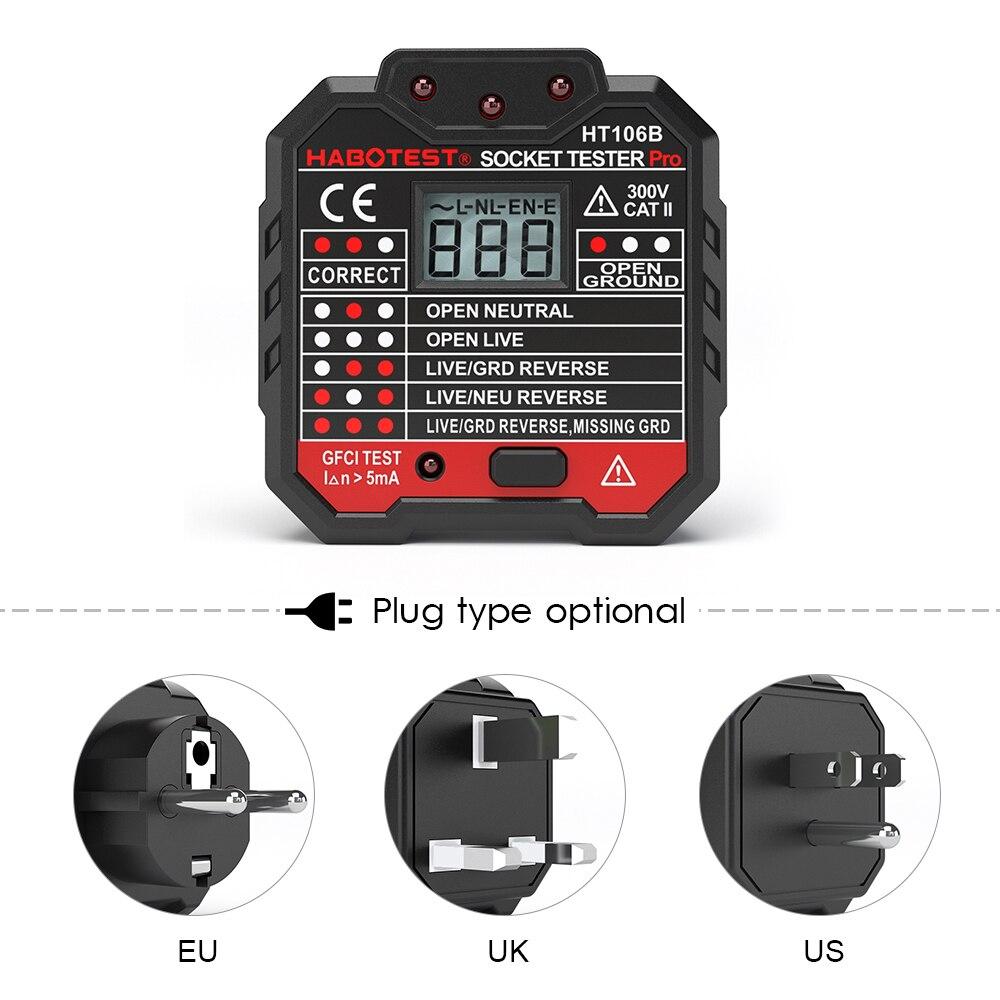 Hobatest digital eua/ue/reino unido soquete tester pro detector de polaridade circuito portátil tensão tester parede plug disjuntor finder teste rcd