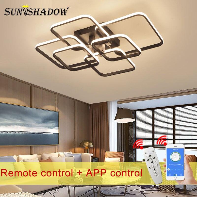 Montagem em superfície led lustre preto & branco quadrado moderno led lustre para sala de estar quarto sala de jantar luminárias interiores