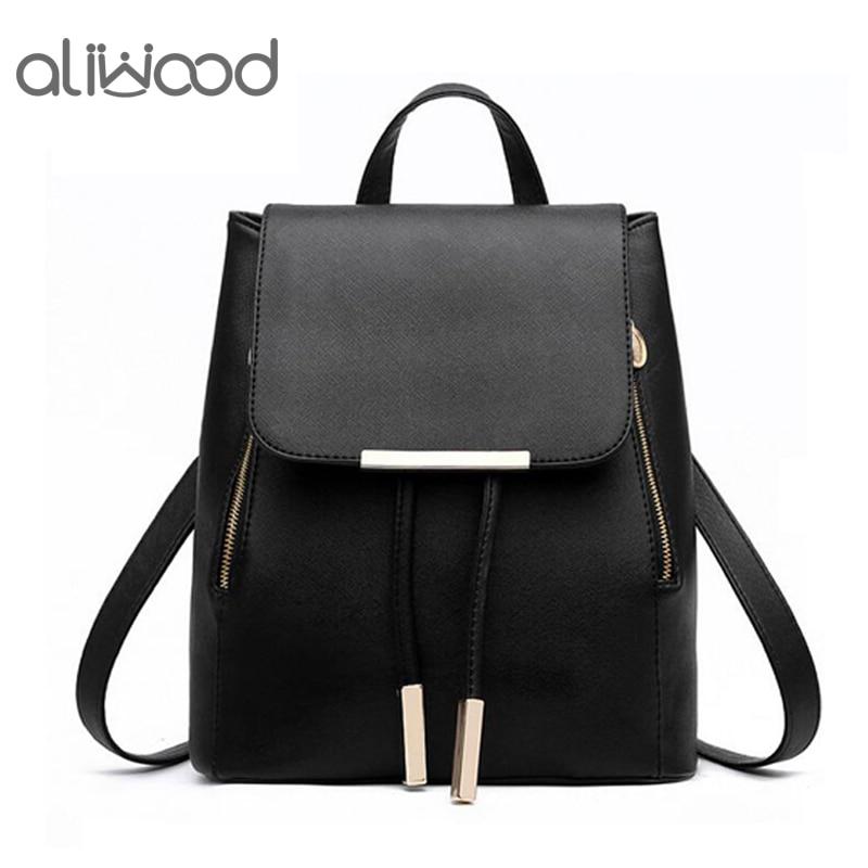 Aliwood Hot Sale Leather Women's Backpack High Quality School Bags Mochila Rucksack Escolar Backpacks For Teenagers Girls Bolsas