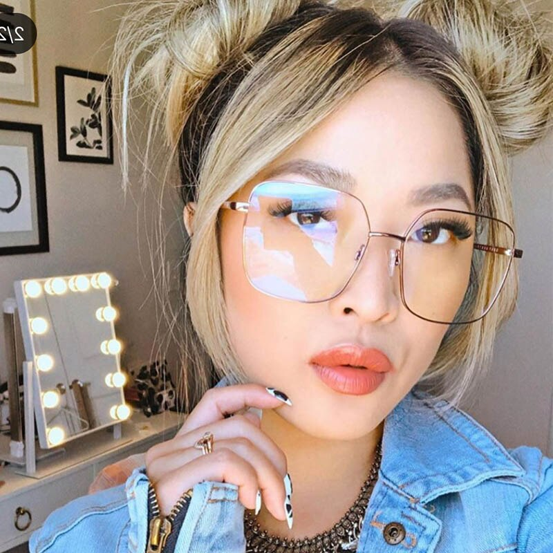 Montura de gafas cuadrada a la moda para hombres y mujeres, gafas ópticas con luz azul a la moda, marco de Metal transparente para gafas, gafas grandes