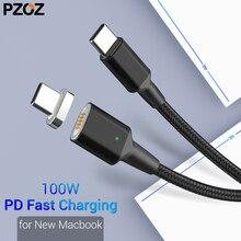 Câble magnétique PZOZ Type C vers USB C pour nouveau MacBook Pro Huawei Matebook 100W PD chargeur magnétique rapide USB-C câbles de chargeur rapide